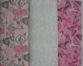 Flannel Fabric By the Yard Pink, Rose, Grey, Paris France, White Damask, Victorian Butterflies Choose (1) Blankets, Rag Quilts, Pillowcases