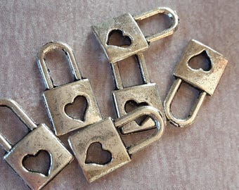 10pcs charms openwork padlock heart - charms - silver - colored metal 16 x 8 mm