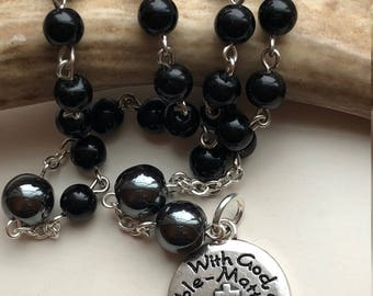 "Handmade Anglican Rosary, Protestant Prayer Beads, Black Obsidian, Hematite, ""With God All Things Are Possible"" Matthew 19:26, Free Ship USA"