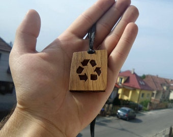 Wooden necklace -  recycled oak