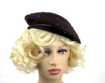 Women's Brown Wool Beret Tam Hat With Beads Pink Ribbon Circa 1960s