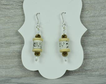Sheet Music Thread Spool Bronze Beaded Sterling Silver Earrings. Gift for her/Gift for singer, crafter, or musician.