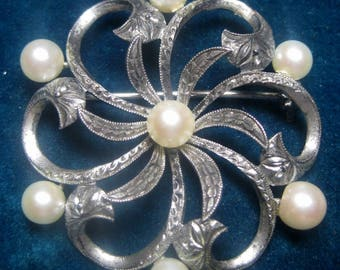 Stunning Antique Silver & Pearl Brooch