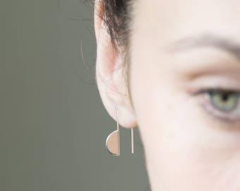 Edgy silver earrings, minimalist earrings, geometric earrings, half circle earrings, hipster style earrings, minimalist earrings.