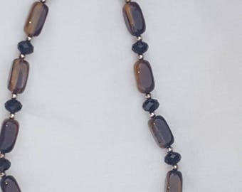VINTAGE Glass Bead Necklace and Clip On Earrings / Brown and Black Bead Neclace