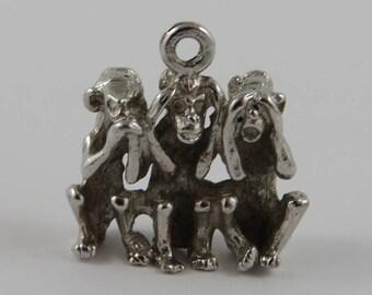 Three Wise Monkeys Speak, Hear, See No Evil Sterling Silver Vintage Charm For Bracelet