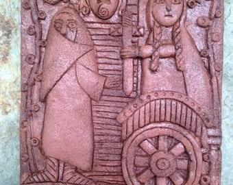 BRIG-002 Red Saint Brigid and the Leper/ Celtic/Irish/Religious/Saint/Carved/Icon/Plaque