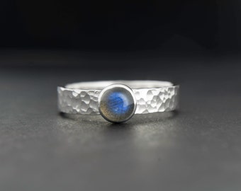 Labradorite Sterling silver ring, hammered silver ring with beautiful blue gemstone - available with many stones