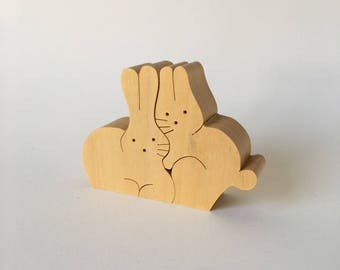NAEF Wooden Toys - Sabu Oguro Animal Puzzle Bunnies in original Box - Perfect Gift