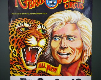 Ringling Bros and Barnum Bailey Circus Vintage Poster 1970's Leopard Tiger The Greatest Show on Earth Carnival Sign Advertising Coliseum
