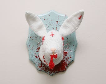 Albino Satanic Rabbit Faux Taxidermy - Evil Bunny - Knit / Knitted Wall Art