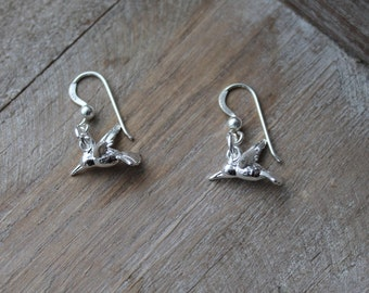 Hummingbird 3D sterling silver earrings