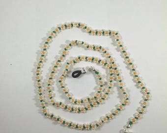 Beaded Glasses Chain, Beige, Green, and Yellow Daisy Chain Sunglasses Holder Strap, Lanyard, Eyeglasses Retainer