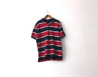 Red White & Blue Striped 90s Polo Ralph Lauren Shirt - L