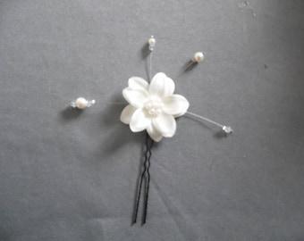 hair pins satin flower bun ivory pearls or white bridal wedding evening parties