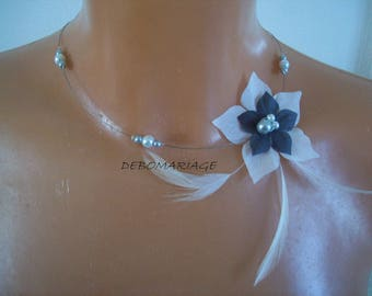 wedding necklace bridal party white silk flower or ivory/gray feather beads evening bridesmaid witness