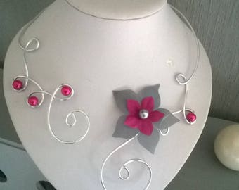 Bridal wedding set of 4 aluminum wire jewelry set silver Fuchsia silk flower / gray ceremony evening parties
