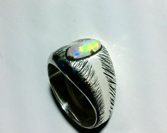 Men's Boulder Opal Ring Size 9 (can be resized) by Berto Palencia