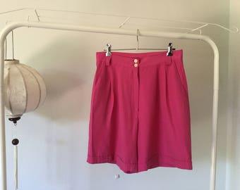 Hot pink high waist shorts