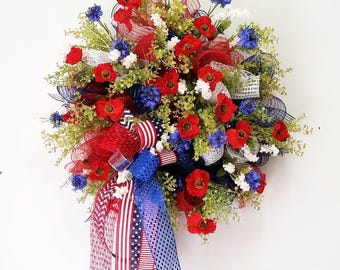 4th of July wreath, Summer wreath, Floral wreath, Mesh wreath, USA wreath, Memorial day, Veterans day, Red white and blue wreath, Patriotic