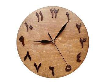 Clock arabic style (wooden) - different colors, 2 sizes - 24(9.45 in) and 30 cm (11.81 in)