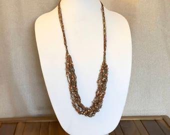 Adjustable Trellis Ribbon Necklace