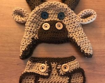 Crochet Diaper Cover Set-Moose Hat for Baby Boy-Deer Diaper Cover-Newborn Photo Prop-Baby Moose Hat for Infant-Baby Boy Gift-Moose for Girl