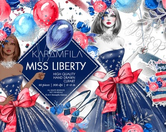 4th of July Clipart Memorial Day Clipart Watercolor Fashion Clipart Glitter Balloons Blue Red Peonies Independence Day Planner Stickers DIY