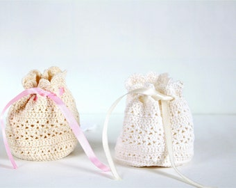 Birthday gift for Women jewelry bag Crochet bag for Travel jewelry storage Easter Gift for Daughter Gift bag Gift for girlfriend gift