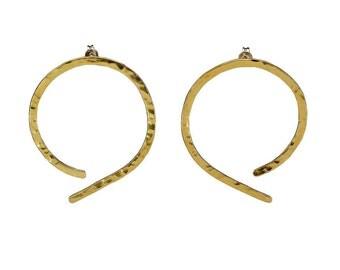 Thin large hoops, stud brass hoops, hammered earring, plain open hoop, simple hoop, minimal jewelry, present under 25, women gift.