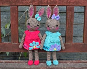 CUSTOM BUNNY rabbit handmade toy crochet knit CE Baby Boy Girl Birthday Birth Dress amigurumi