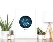 Gemini Zodiac Luxury Watercolour Illustration Print - A5 or A4