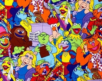 Muppets Packed Disney Muppet Show Friends Kermit Fozzy Miss Piggy Animal Beaker Gonzo Cotton Fabric by Springs Creative