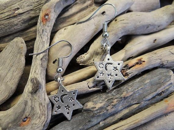 Star of David Earrings Shield of David Judaism Jewish Hebrew Jew Moon Stars Sun Earring Drops Drop Dangle Dangles Spiritual Protection