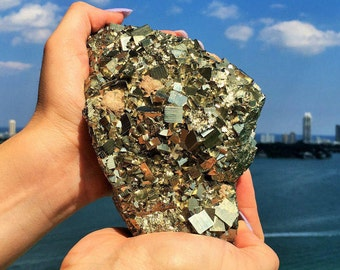 Large Pyrite Cluster Crystal Stone / Attract Money Crystals / Free Shipping