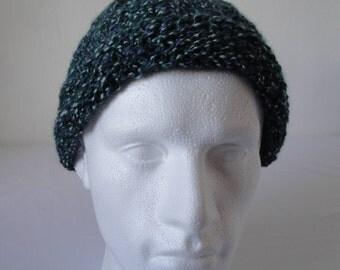 unisex bobble cap, knit pompom beanie, green-purple mix hat, wool-blend pompom hat, textured rib beanie, warm winter cap, two-way beanie
