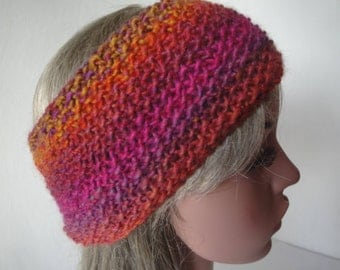 fall colors headband, wool-mix ear-warmers, autumn shades head-warmer, chunky knit headband, red multi headband, knitted earwarmer, hairband