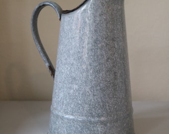 Vintage Emaillekrug, grey, with handle
