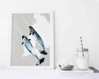 Watercolor narwhal art print, whale wall art, nautical, ocean, animal print, modern home decor, apartment wall art, gift, poster, painting