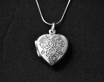Locket necklace, sterling silver Locket, Silver Heart Locket, Heart Pendant, Anniversary Gift, Silver Locket, Photo Locket (P24)
