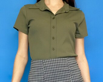 Vintage 90s Y2k 2000s Dark Green Ribbed Button Down Collared Short Sleeve Blouse