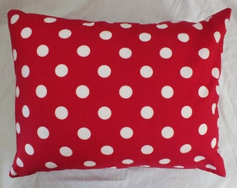 Travel or Toddler Envelope Style Pillowcase  Red and White Polka Dot  12 x 16