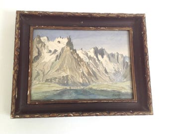 vintage french framed watercolor, french art, french painting, 1928