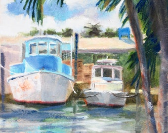 Small Oil Painting, Small Painting.Painting on Canvas, Original Paintings, Fishing Boats, Florida Painting, Marina, Harbor 6 x 8 Sue Whitney