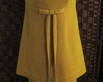 1970'S Textured Polyester Pantsuit Empire Waist Bow Sleeveless Size Small