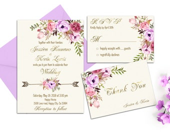 Romantic Spring Wedding Invitation Boho Wedding Invitation Printable Lavender Floral Wedding Suite Pink Gold Wedding Invitation Purple Ivory