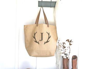 Gifts for Women-Monogrammed Tote Bag for Work-Zippered Diaper Bag-Jute Bag for Women Burlap Tote-Deer Antler Monogram-Honeymoon Gift