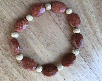 Red Goldstone Stretch Bracelet
