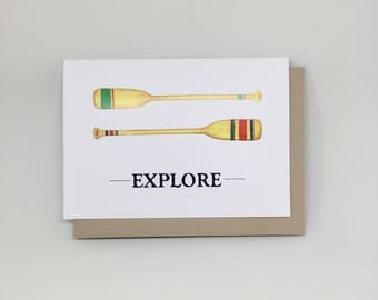 Explore with Paddles hand painted card, blank greeting card, handmade card, hand lettered
