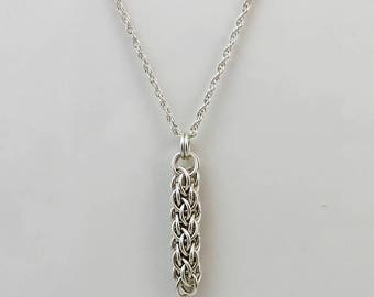 Sterling Silver Necklace, Pendant Necklace, Chainmaille Necklace, Silver Necklace, Chain Mail Necklace, Chainmail Necklace